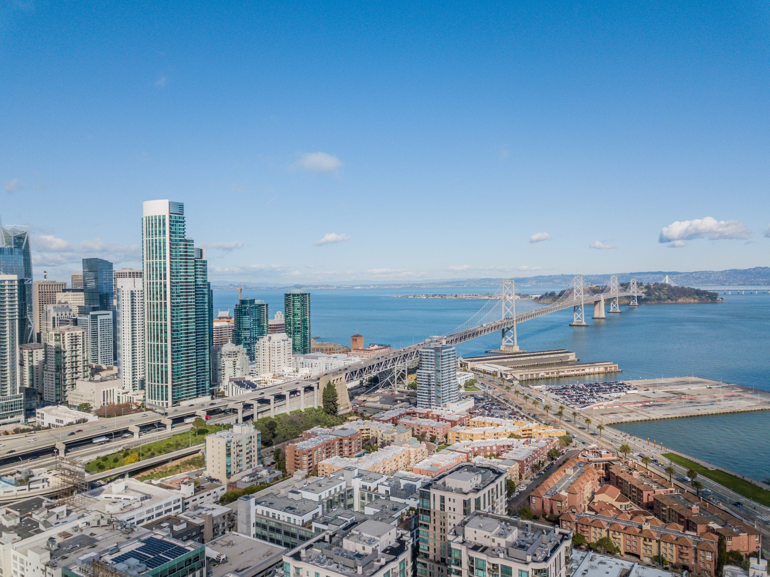 view of downtown san francisco and oakland bay bridge from over bayside village apartments
