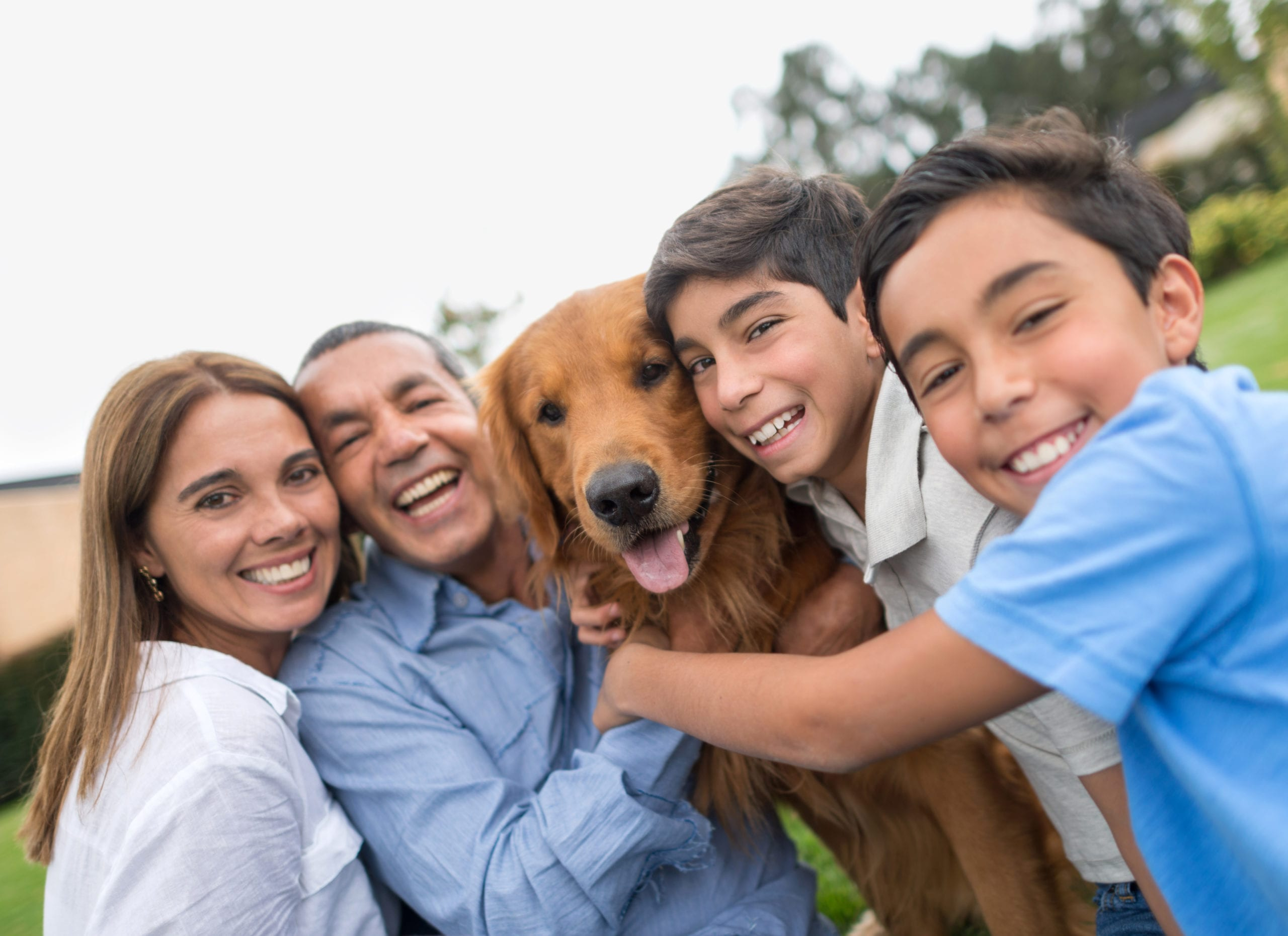 family with dog at pet friendly apartment in san francisco bayside village