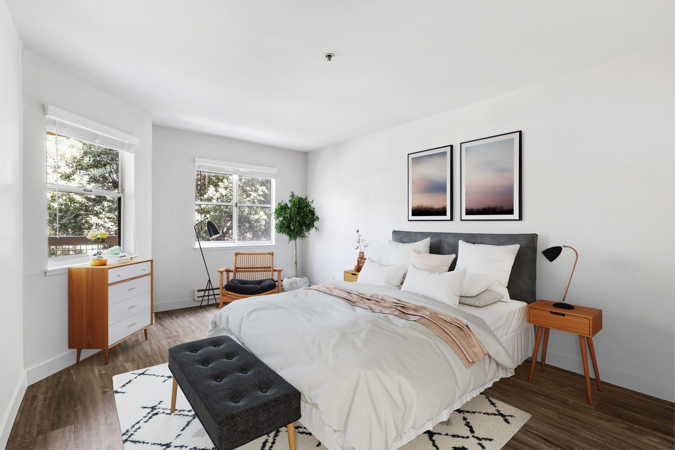 naturally lit apartment bedroom with two windows at bayside village san francisco