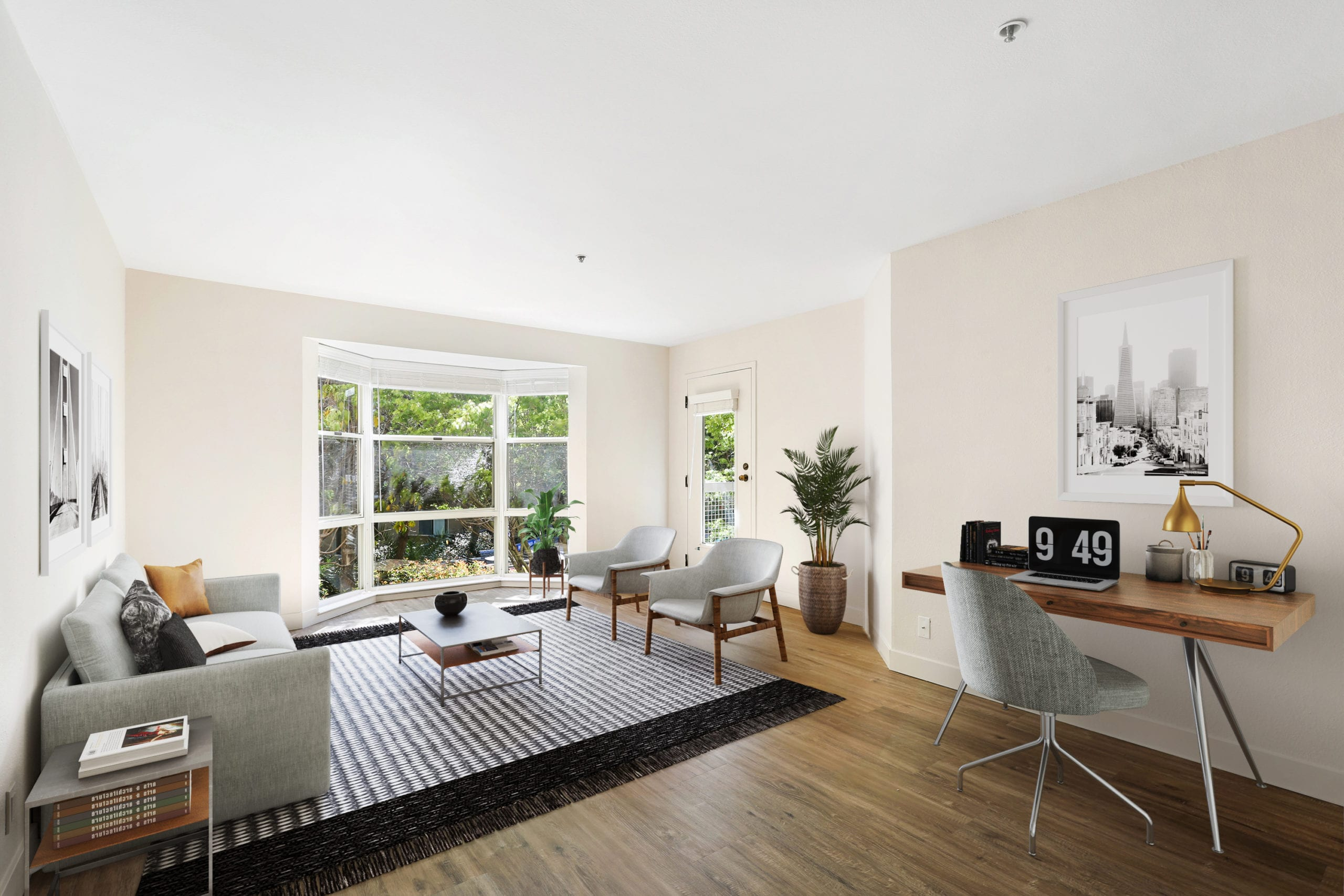 san francisco apartment living room with hard wood floors