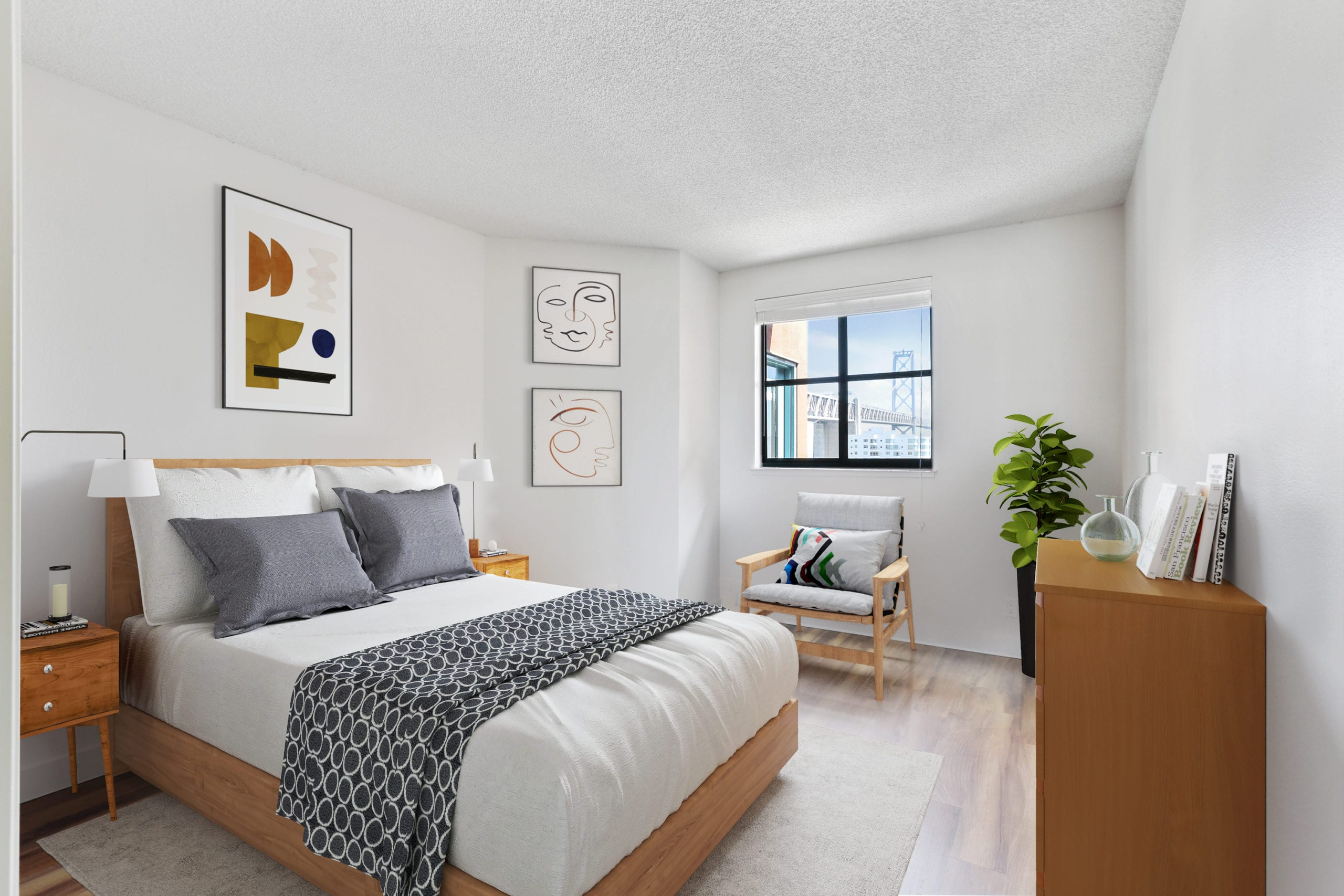 apartment bedroom with oakland bay bridge views